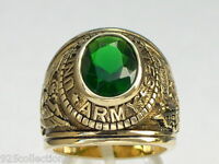 12x10 Mm United States Army Military Green Emerald May Birthstone Men Ring 7-15