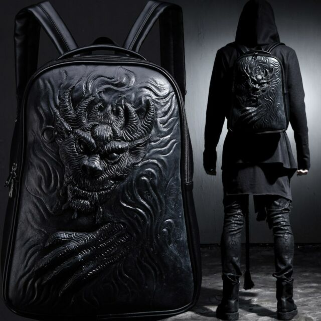 BytheR Faux Leather Urban Gothic Black Bag Demon Evil Embossing Soft Backpack