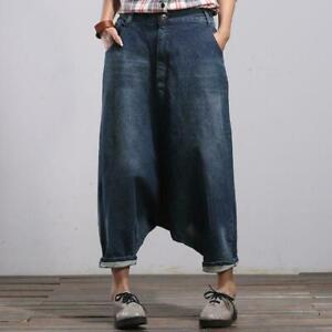 donna larga cavallo jeans basso gamba denim Harem Caldi tasche pantaloni goccia pantaloni 4EwxqnTR1