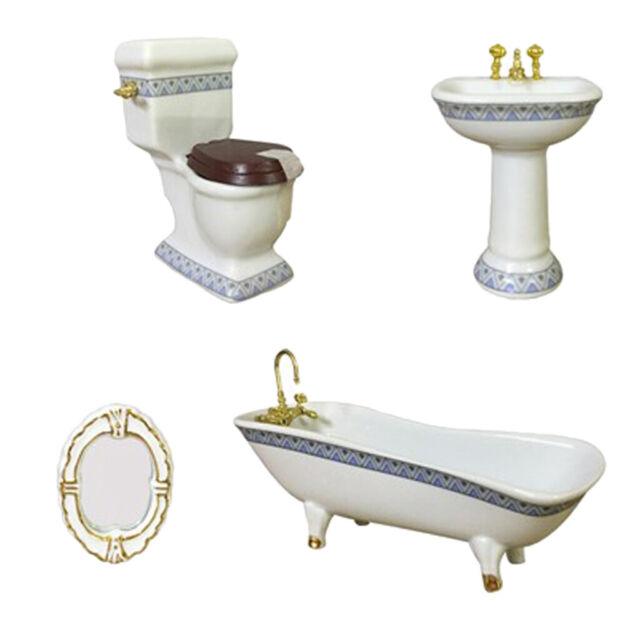 1//24 Dollhouse Miniature Ceramic Bathroom Porcelain Toilet Tub Sink White