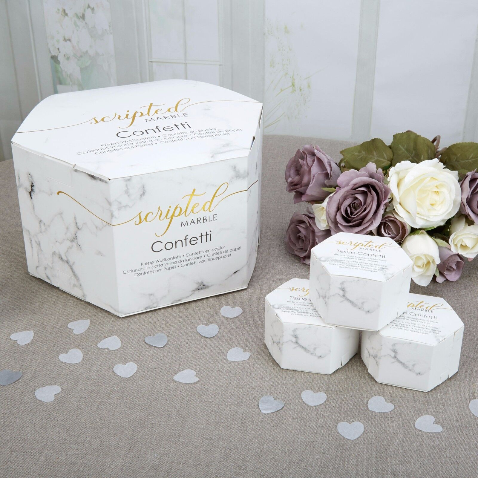 WEDDING CONFETTI Throwing Biodegradable SCRIPTED MARBLE White Silver ...