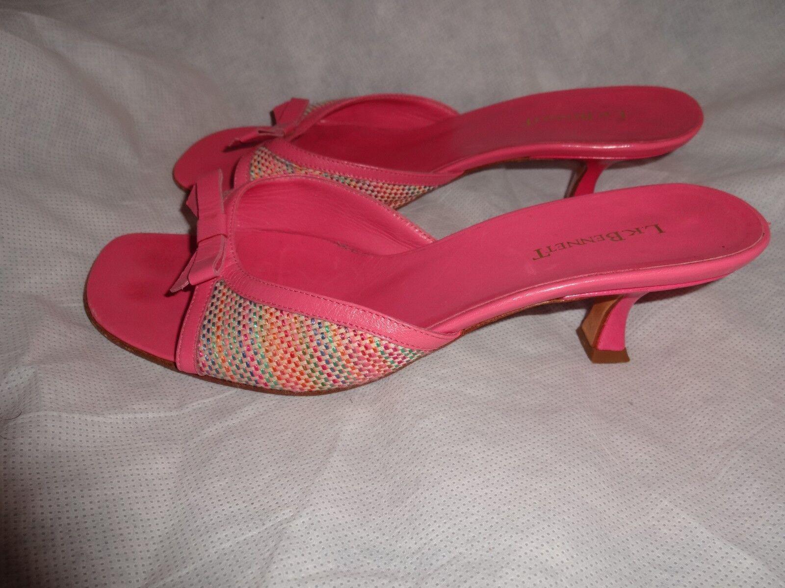 L.K. Bennett Pantofole Donna Rosa Pelle Mocassini Pantofole Bennett Taglia EU 37 in buonissima condizione be5200