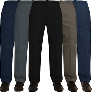 Mens-Rugby-Trousers-Elasticated-Waist-Regular-Casual-Smart-Work-Pants-All-Waists