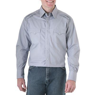 75946GY WRANGLER Mens FINE DETAL EMBROIDERY Shirt Gray 2XL