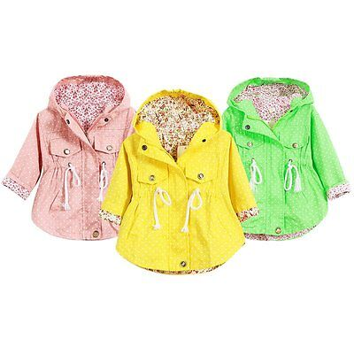 Cute Kids Girl Outerwear Coats Hoodies Floral Jackets Baby Coat Clothing 2-7 Y