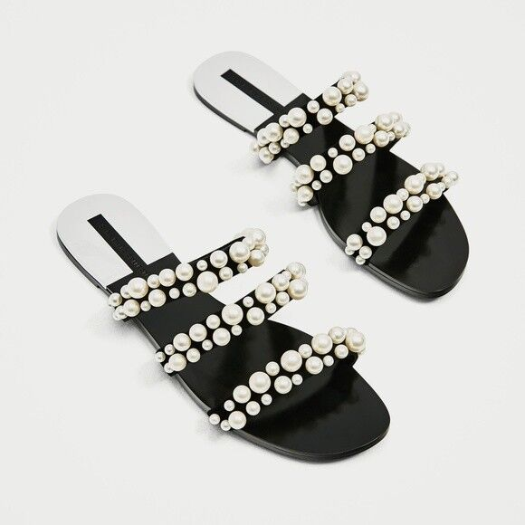 Zara Pearly Pearl Strappy Sandals Slides US 6.5   Euro 37   2600 201 BLOG FAVE