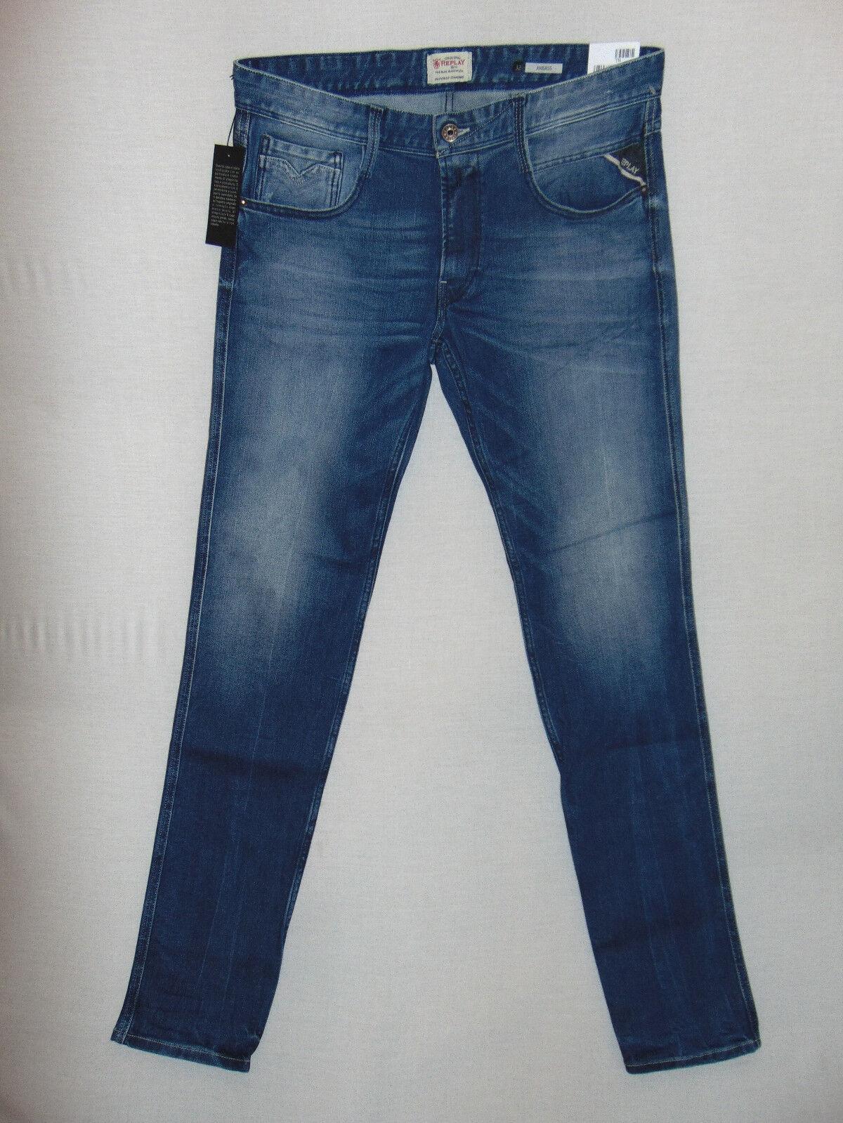 Replay ANBASS Stretch Slim Fit  RRP  Mens 12oz Deep bluee Comfort Denim Jeans