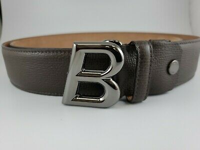 New Bally Mens B Oblique Black Calf Embossed Belt SZ 44//110 CM ADJUSTABLE ITALY