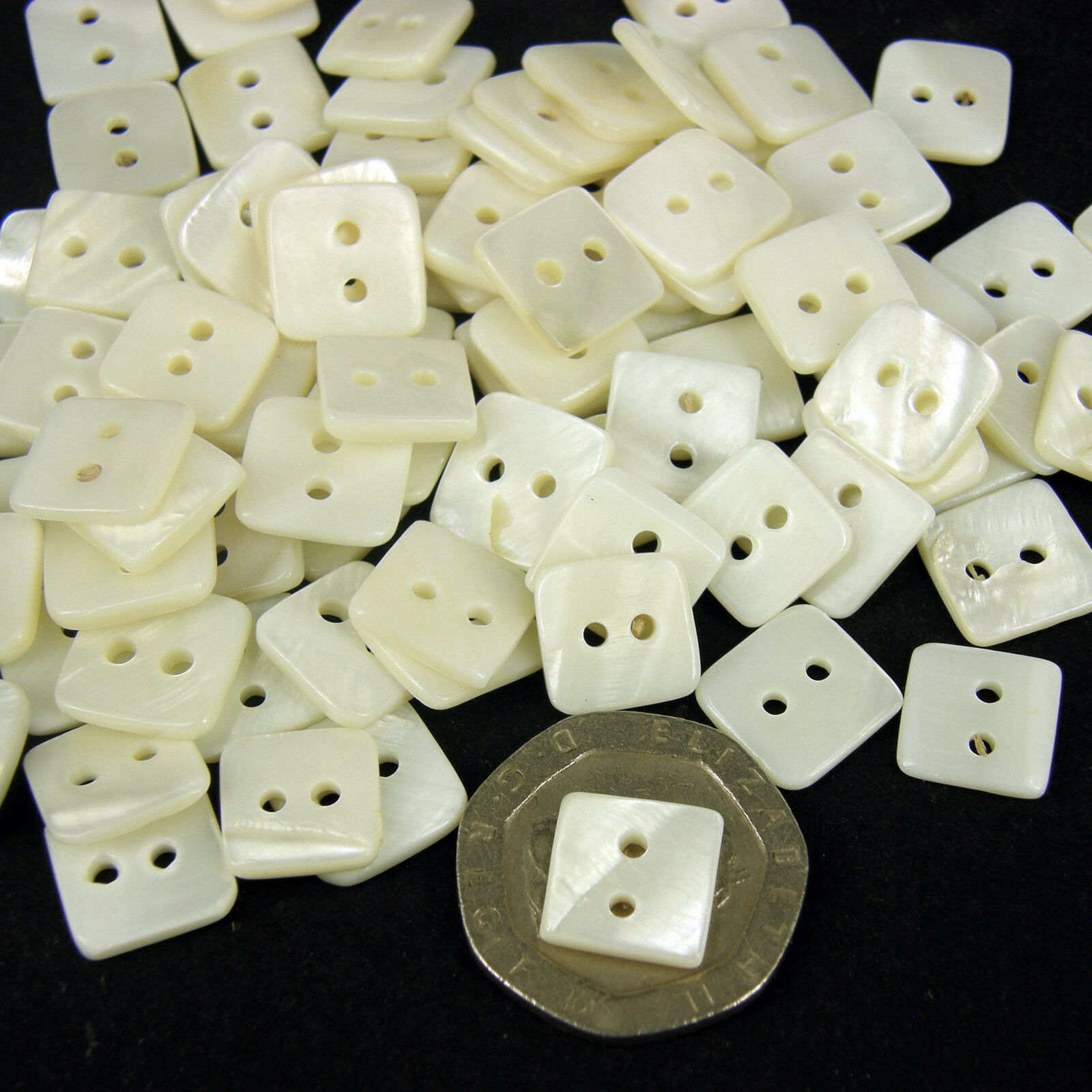 10mm  Ivory SQ  Shell 10 x Buttons Sewing Scrapbooking Beads Craft Knitting B26