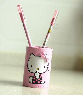 Cute Hello Kitty PU Leather Desktop Pen Holder Case Pencil Vase Brush Pot