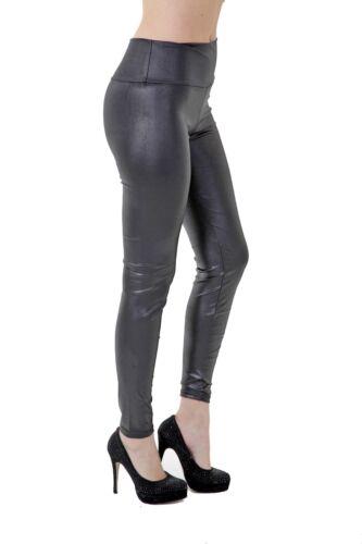 Tattoo Damen Leggings Fashion Leggins Hose Leder Optik Hochglanz Einheitsgrösse