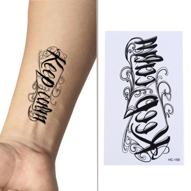 New Removable Temporary Tattoo English Word Body Art Tattoos Sticker Waterpr_CA