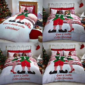 Male Selfie Elfie Single Cotton Rich Novelty Duvet Quilt Cover Set Festive Elf