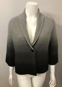 Jones New York Gray Black Ombré Cotton Cardigan Sweater Jacket Size S