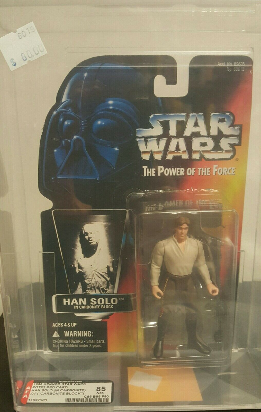 1996 Star Wars AFA Graded POTF 2 Red Card   Han Solo 85+NM (Carbonite)
