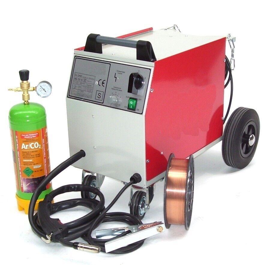 Schutzgas Schweissgerät MIG 161 + Gasflasche 2.2L + 5kg Schweißdraht 0,8 mm