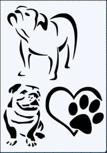 A3 ***NEW*** A4 Bulldogs /& Heart Paws 190mm Mylar Stencil durable A5