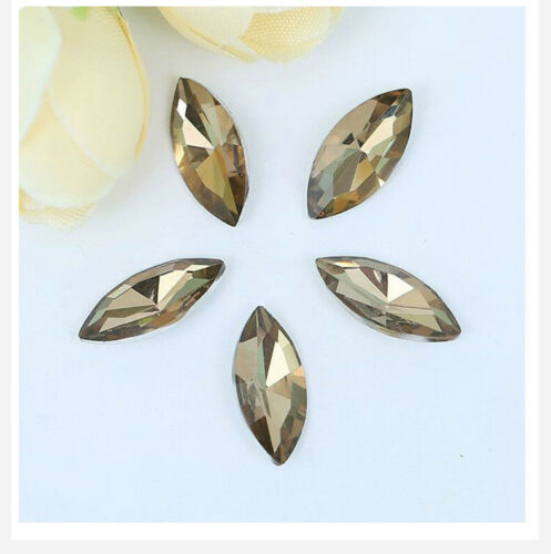5x10mm Navette Point back Rhinestones Crystal Glass Nail Art Marquise 200ps
