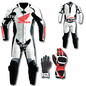 Honda-Motorbike-Motorcycle-Leather-Racing-Suit-MST-67-With-Gloves-US-38-40-42