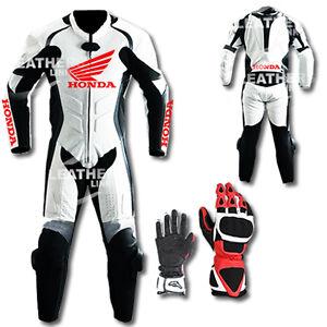 Honda-Motorbike-Motorcycle-Leather-Racing-Suit-MST-67-With-Gloves-US-38-EUR-48