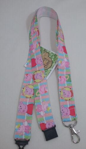 New Cute kid TV Cartoon Pig PINK ribbon lanyard safety clip ID badge holder gift