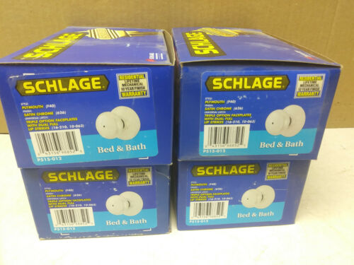 /'Plymouth/' F40 Satin Chrome 626 4 Bed /& Bath//Privacy Schlage doorknobs