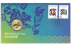Australia-2018-Year-of-The-Dog-1-Dollar-UNC-Coin-amp-Stamps-PNC-Cover