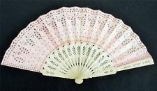 ANTIQUE VICTORIAN CARVED & PIERCED BONE (BOVINE) FLORAL & PINK SPANGLED FAN