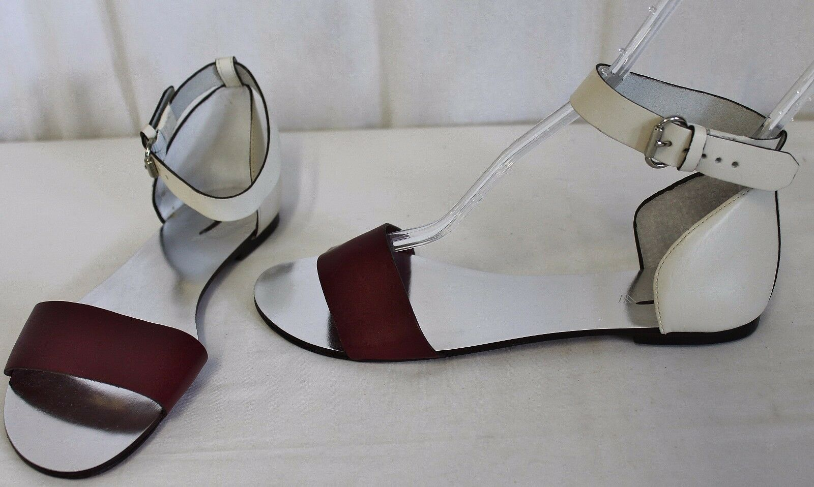 J CREW MARBELLA COLORBLOCK SANDALS BURGUNDY SIZE 8.5 B6657
