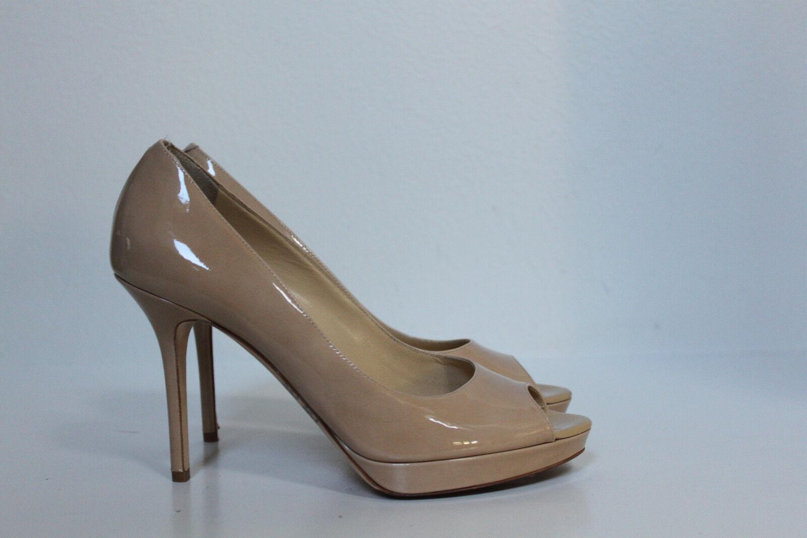 Sz 8.5 US     38.5 Jimmy Choo Nude Patent Peep Toe Platform Pump Sandals shoes bea999