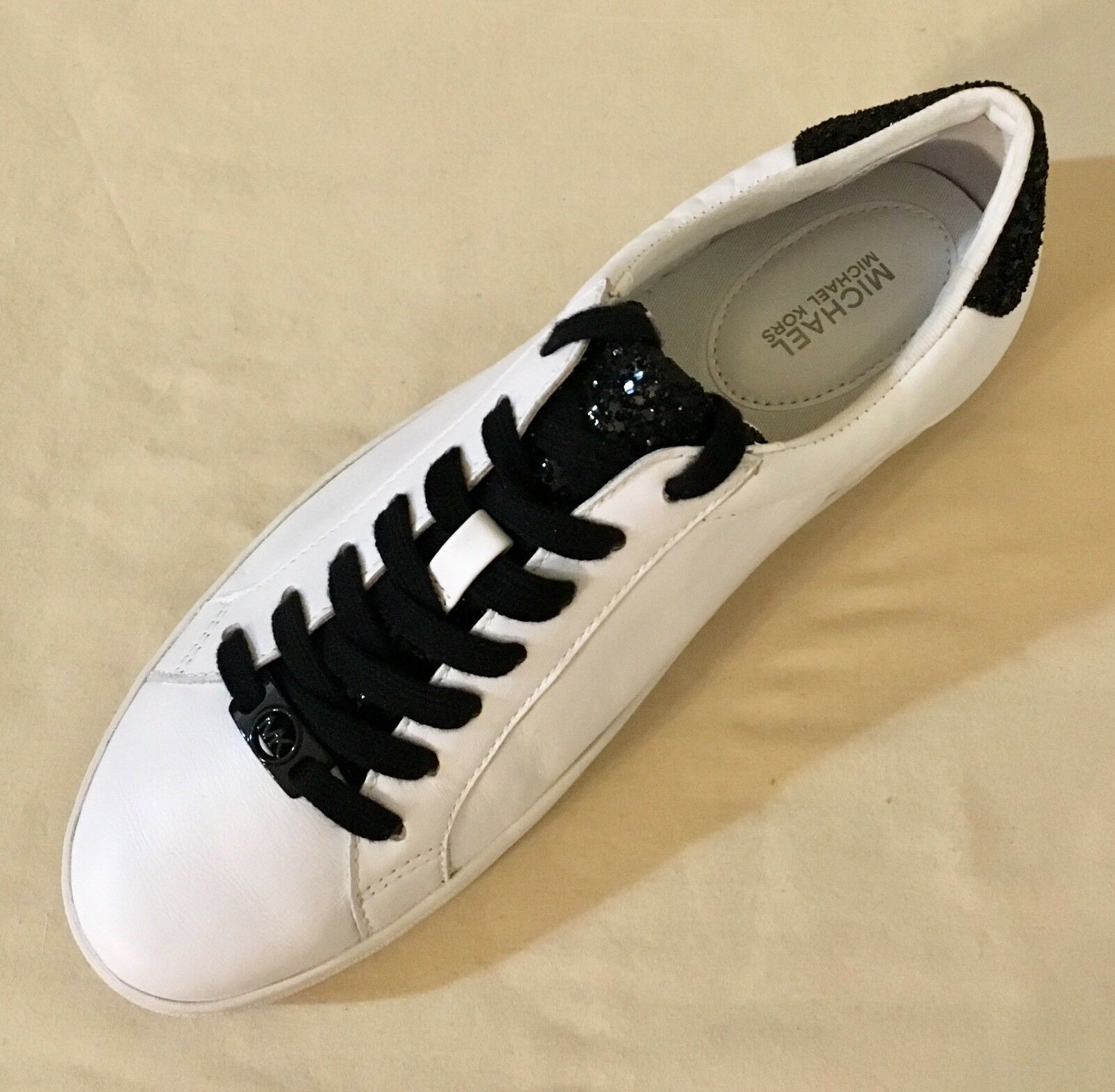 Women Michael Kors Irving Lace Up Casual Sneaker Leather Optic White/black