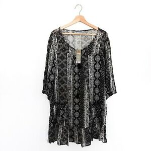 Rivers-NWT-Size-10-Boho-Black-amp-White-Tassel-3-4-Sleeve-Dress-Womens