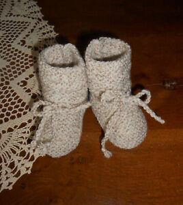 Chaussons bébé 3/6 mois ou poupée-poupon Reborn -Laine chinée beige