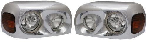 Headlights Lamp Chrome Pair Driver /& Passenger Side Freightliner Century 2005