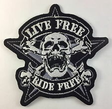 Live Free Ride Free Skull Star Tattoo Outlaw Biker Big Embroider Patch n-314