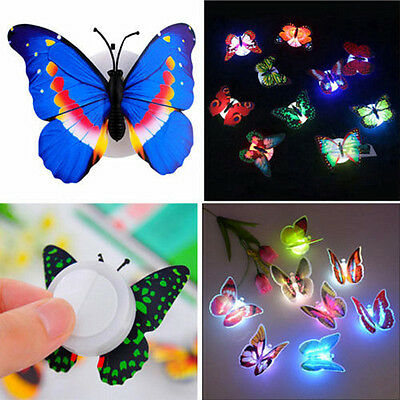 Colorful Changing Butterfly LED Night Light Lamp Home Room Desk Party Wall Decor