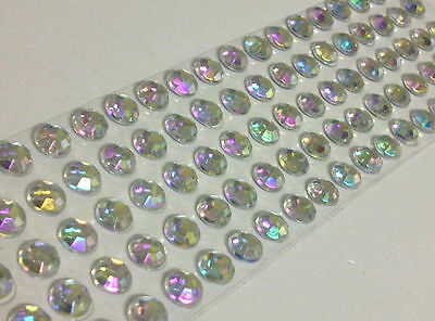 Self Adhesive AB CLEAR Diamante Rhinestone Stick on Individual Round Gems BLING