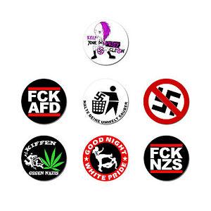 Button-Polit-Set-7-Stk-NEU-2-5cm-Punk-Gegen-Nazis-Nazi-Raus-FCK-NZS-GNWP-FCK-AFD