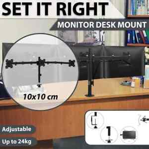 "vidaXL Triple Monitor Desk Mount Stand 13""-23"" Height Adjustable TV Accessory"