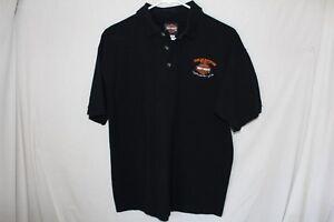 Harley-Davidson-Shirt-Black-Orange-Polo-Medium-Kuwait-Short-Sleeve