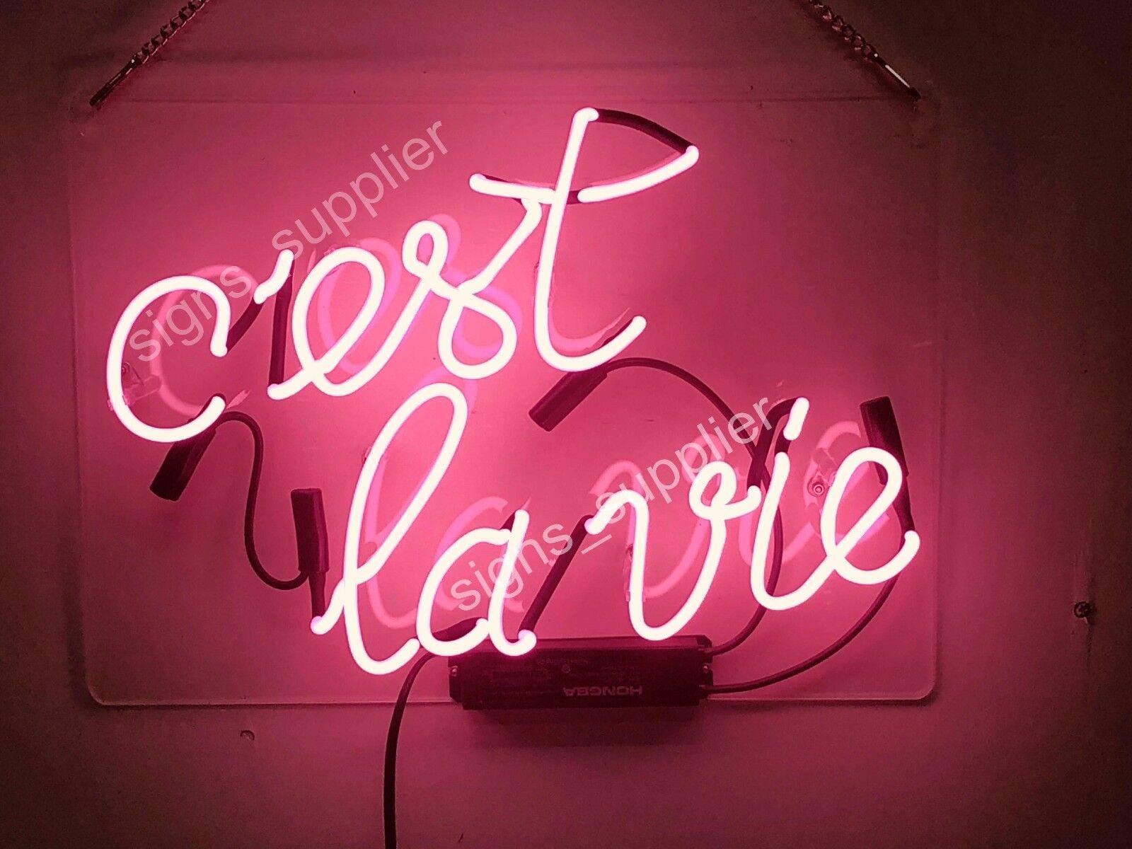 New C Est La Vie Neon Sign Acrylic Gift Light Lamp Bar Room 14 X10