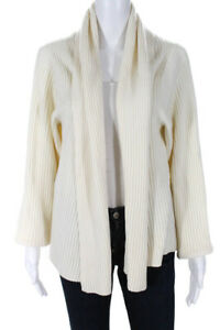Eileen-Fisher-Womens-Open-Front-Cardigan-Sweater-Cream-Ribbed-Size-48