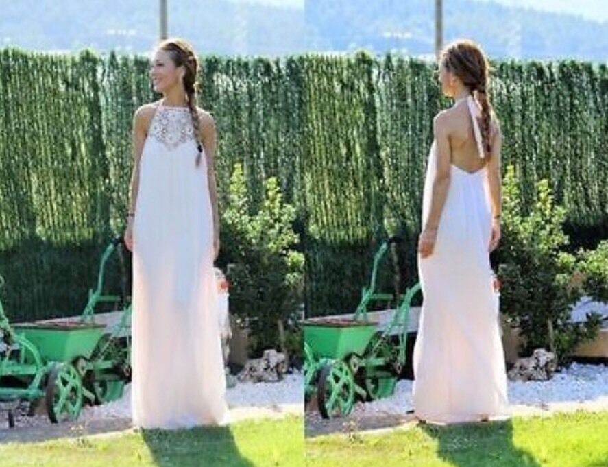 NWT. ZARA Pale Pink Floral Lace Crochet Maxi Dress Size Small