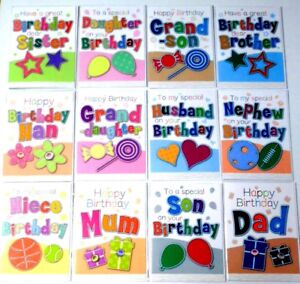 JUST-15p-192-SUPERB-039-STITCHES-039-RELATIONS-CARDS-TEXTURED-WRAPPED-16-DESIGNS