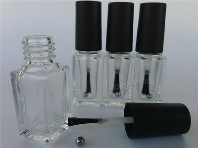 New 5-50pcs 5ml Empty Nail Polish Bottle Clear Glass With Agitator Mixing Balls