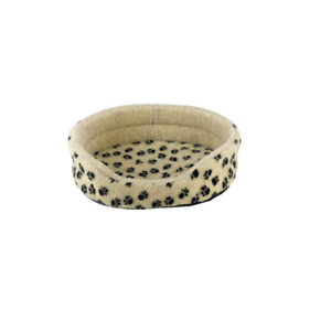 Snug-amp-Cosy-Oval-Dog-Bed-Cream-amp-Black-Paw-Print-Design-Comfortable