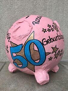 Sparschwein XXL 50. Geburtstag goldene Sterne Geldgeschenk Briefbox ...
