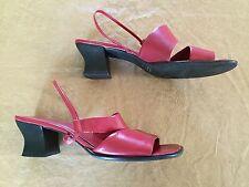 ARTIVA SZ 9 M Red Genuine Leather Slingback Mid Heel Sandals