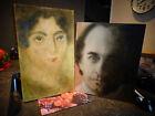 Tableau Peinture Artiste Anonyme sur Panneau Portrait d'Homme Jeu d'ombre Femme
