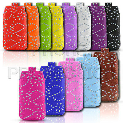 DIAMOND BLING LEATHER PULL TAB SKIN CASE COVER POUCH FITS VARIOUS ALCATEL PHONES